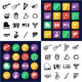 Instrumenty Muzyczni Wszystko w Jeden ikonach Czarnych & Białego koloru Płaskim projekcie Freehand Ustawiającym ilustracja wektor
