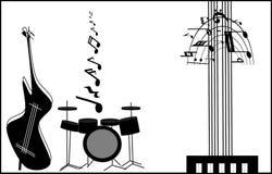 instrumenty muzykalni Muzykalny wulkan, fontanna, siklawa w występie różnorodny musical Zdjęcia Royalty Free