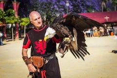 Instrutor com águia americana Fotografia de Stock Royalty Free