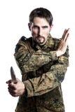 Instrutor da autodefesa com faca imagem de stock royalty free