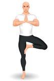 Instrutor da ioga que está na postura da árvore ilustração royalty free