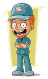 Instrutor de sorriso do basebol do ruivo dos desenhos animados ilustração do vetor