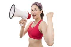 Instrutor do esporte com megafone Fotografia de Stock