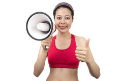 Instrutor do esporte com megafone Fotografia de Stock Royalty Free