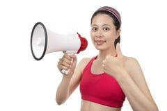 Instrutor do esporte com megafone Fotos de Stock