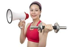 Instrutor do esporte com megafone Imagens de Stock