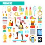 Instrutor Healthy Lifestyle Icons da aptidão com exercício da mulher ilustração royalty free