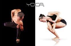 Instuctors di yoga di doppie immagini - uomo e donna Fotografie Stock
