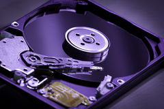 Insude Hard Disk drive. Closeup of a hard disk drive open showing internal components Royalty Free Stock Photos