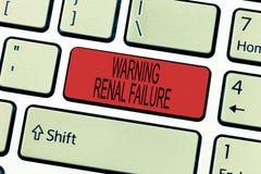 Insuficiência renal de advertência do texto da escrita da palavra Conceito do negócio para o mau funcionamento agudo Waste de fil foto de stock royalty free