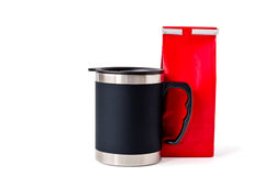 Insulated Cup with Red Paper Bag Royalty Free Stock Images