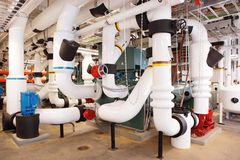 Free Insulated Industrial Piping In An HVAC System. Stock Images - 159642934