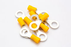Insulated ring terminals on white background Stock Photos