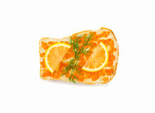 Insulated sandwich with red caviar with lemon and dill Stock Photography