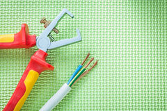 Insulated strippers electric wires on green background electrici Royalty Free Stock Photography