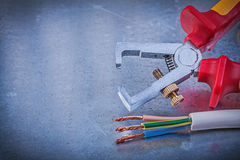 Insulated strippers electric wires on metallic background horizo Stock Images