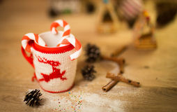 Insulated wool cloth mug with embroidered deer Stock Photos
