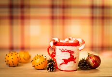 Insulated wool cloth mug Royalty Free Stock Image