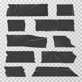 Insulating adhesive tape, duct tapes or scotch vector set. Black tape part, illustration of sticky plastic tape Royalty Free Stock Image