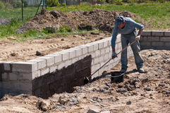 Insulating foundations. Man insulating foundations on building site Royalty Free Stock Image