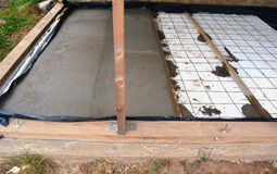 Insulating  house floor with polystyrene and concrete Stock Images