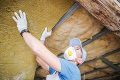 Insulating House Roof royalty free stock images
