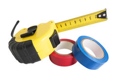 The insulating tape and tape measure Stock Image