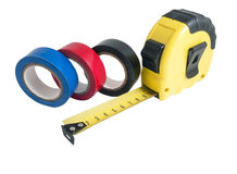 The insulating tape and tape measure Royalty Free Stock Photography