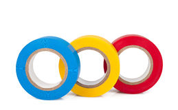 Insulating tapes. Multicolored insulating tapes roll isolated on white background stock image