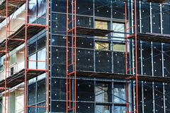 Insulation of building wall under construction Royalty Free Stock Photos