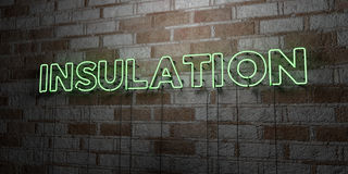 INSULATION - Glowing Neon Sign on stonework wall - 3D rendered royalty free stock illustration Stock Photo