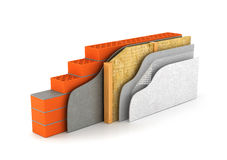 Insulation of houses and walls. The scheme in cross section. 3D illustration vector illustration