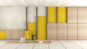 Insulation of an old room. With plasterboard ,rock wool and wooden decorative panels - 3d rendering Royalty Free Stock Photos
