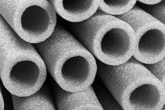 Insulation for pipes closeup stock photo