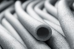 Insulation for pipes closeup. Macro view of thermo pipes for tubes Royalty Free Stock Photo