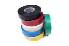 Insulation tape. Six rolls of an insulating tape isolated on a white background Royalty Free Stock Photos
