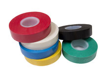 Insulation tape. Six rolls of an insulating tape isolated on a white background Royalty Free Stock Images