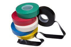 Insulation tape. Six rolls of an insulating tape isolated on a white background Royalty Free Stock Image