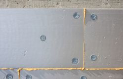 Insulation for thermal protection to the shell of the house. Save energy stock photography