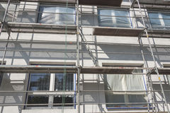Insulation for thermal protection. Work on scaffolding royalty free stock images