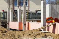 Insulation and waterproofing of the building foundation royalty free stock image