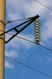 The insulator on high voltage stand Stock Photography
