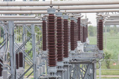 Insulator for supporting in sub station Royalty Free Stock Photos
