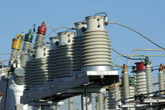Insulators. Big insulators on the high-voltage substation Royalty Free Stock Images