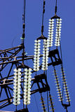 The insulators on high voltage stand Stock Photography