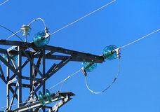 Insulators of medium voltage tower Royalty Free Stock Images