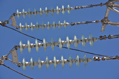 Insulators power lines. Royalty Free Stock Photography