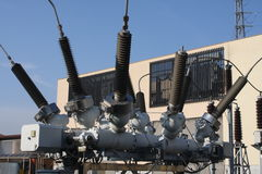 Insulators of a transformer in substation Royalty Free Stock Images