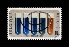 Insulin discovery, 50th anniversary postal stamp, circa 1971,  Royalty Free Stock Photos