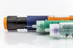 Insulin injection needle or pen for use by diabetics Stock Images
